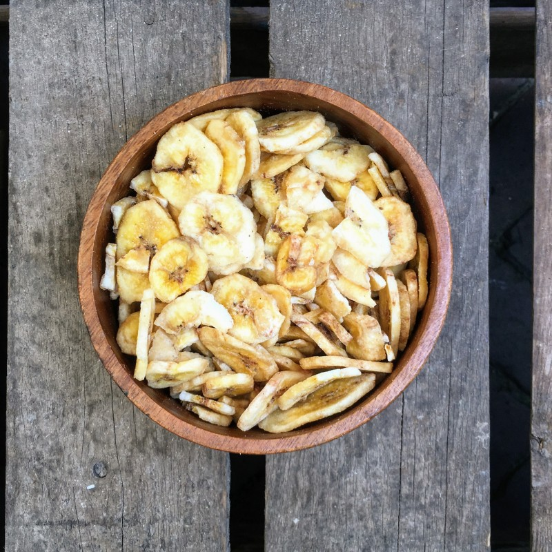 Bananenchips Gedroogde Banaanchips Verse gezonde noten